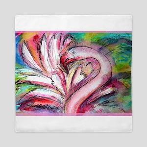 Flamingo, colorful, fun, art! Queen Duvet
