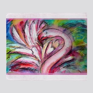 Flamingo, colorful, fun, art! Throw Blanket