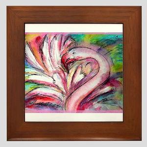 Flamingo, colorful, fun, art! Framed Tile