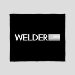 Welder: American Flag (White) Throw Blanket