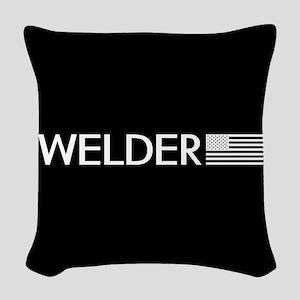 Welder: American Flag (White) Woven Throw Pillow