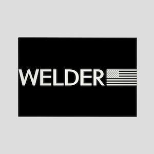 Welder: American Flag (White) Rectangle Magnet