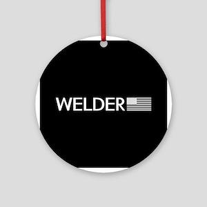 Welder: American Flag (White) Round Ornament