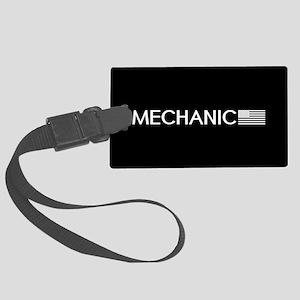 Mechanic: American Flag (White) Large Luggage Tag