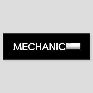 Mechanic: American Flag (White) Sticker (Bumper)