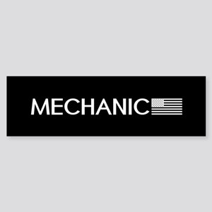 Mechanic: American Flag (White) Sticker (Bumper)