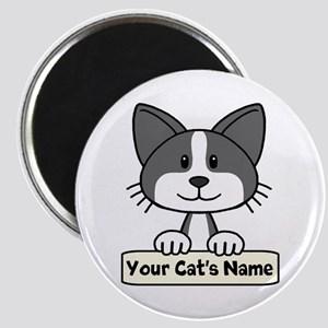Personalized Black/White Cat Magnet