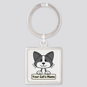 Personalized Black/White Cat Square Keychain