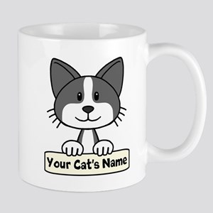 Personalized Black/White Cat Mug