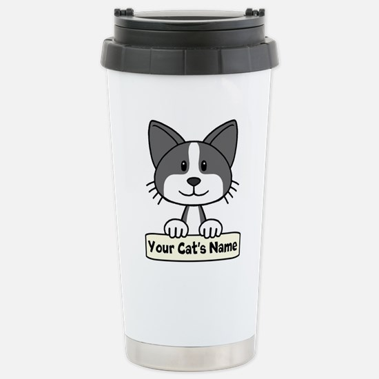 Personalized Black/Whit Stainless Steel Travel Mug