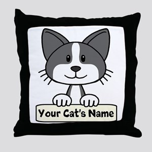 Personalized Black/White Cat Throw Pillow