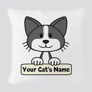 Personalized Black/White Cat Woven Throw Pillow
