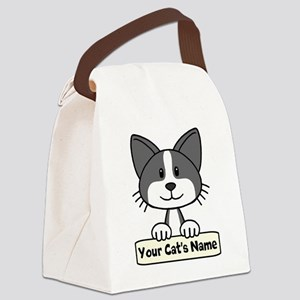 Personalized Black/White Cat Canvas Lunch Bag