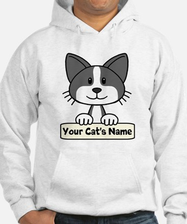 Personalized Black/White Cat Hoodie