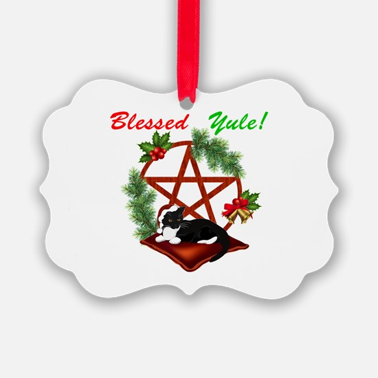 Blessed Yule Cat Ornament