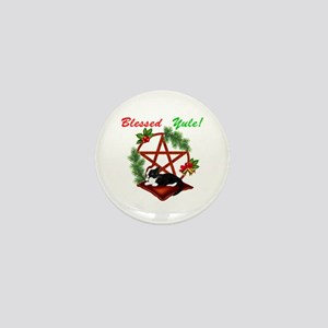 Blessed Yule Cat Mini Button