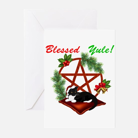 Blessed Yule Cat Greeting Cards
