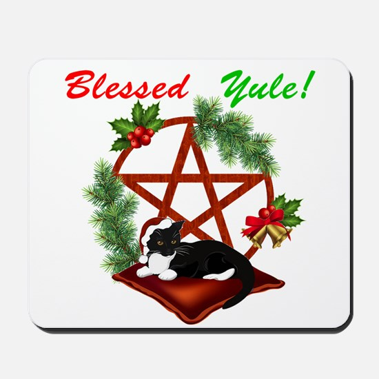 Blessed Yule Cat Mousepad