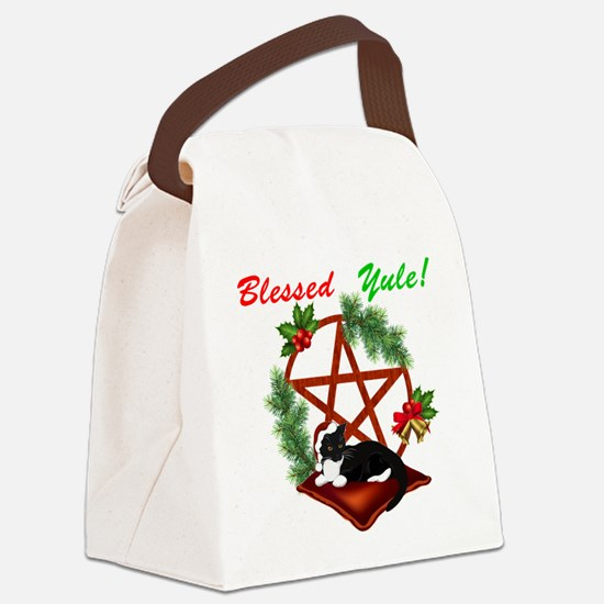 Blessed Yule Cat Canvas Lunch Bag