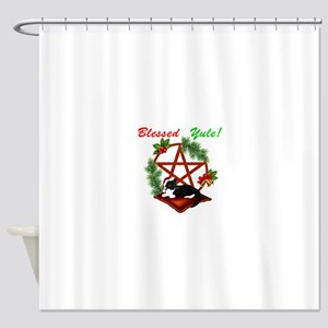 Blessed Yule Cat Shower Curtain