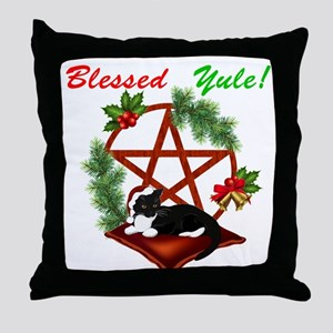 Blessed Yule Cat Throw Pillow