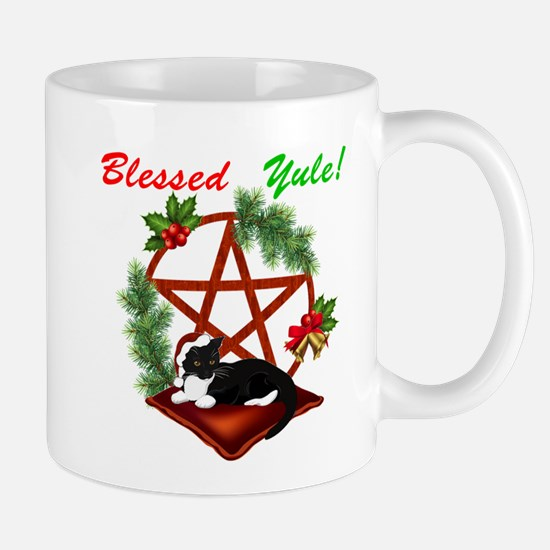 Blessed Yule Cat Mugs