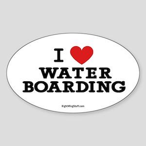 I Love Water Boarding Oval Sticker