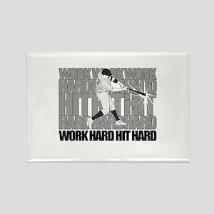 Work Hard Hit Hard - Baseball Magnets