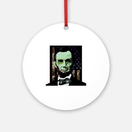 Abraham Lincoln - Zombie Round Ornament