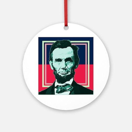 Abraham Lincoln - Retro Round Ornament