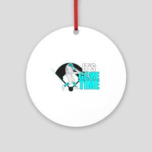 It's Game Time - Baseball (Aqua) Round Ornament