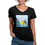 SCUBA No No Women's V-Neck Dark T-Shirt