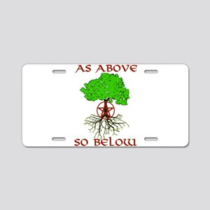 As Above So Below Tree of Life Aluminum License Pl