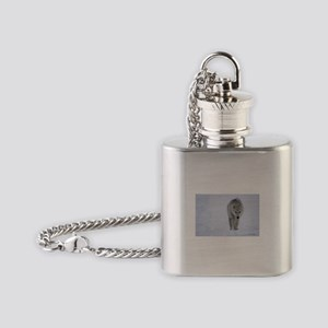 Arctic wolf walking in the snow Flask Necklace