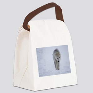 Arctic wolf walking in the snow Canvas Lunch Bag