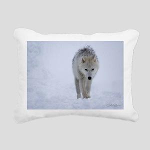 Arctic wolf walking in t Rectangular Canvas Pillow