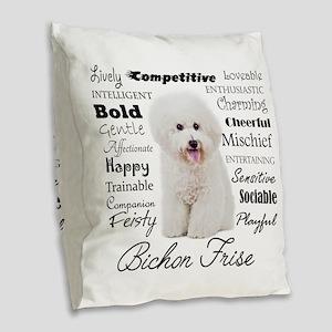 Bichon Traits Burlap Throw Pillow