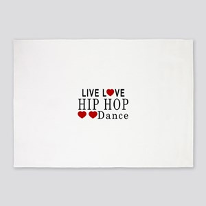 Live Love Hip Hop Dance Designs 5'x7'Area Rug