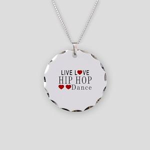 Live Love Hip Hop Dance Desi Necklace Circle Charm