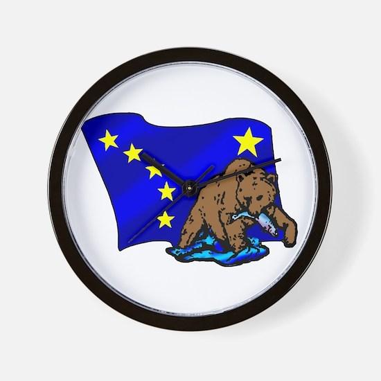 Alaskan Bear Flag Wall Clock