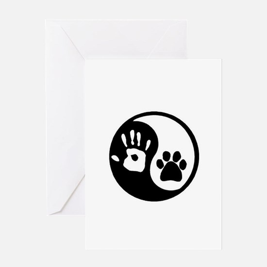 Ying Yang Paw Hand Pet Lovers Greeting Cards