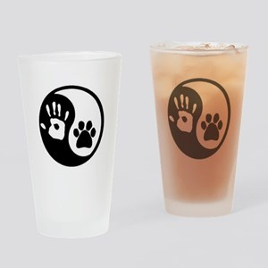 Ying Yang Paw Hand Pet Lovers Drinking Glass