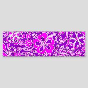 Hibiscus Pink and Purple Pattern Bumper Sticker