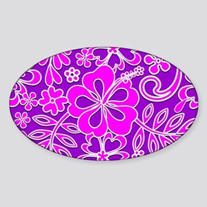 Hibiscus Pink and Purple Pattern Sticker