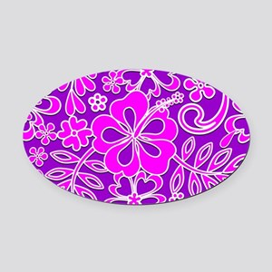 Hibiscus Pink and Purple Pattern Oval Car Magnet