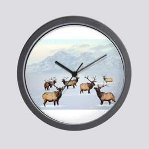 Northern bull elk Wall Clock