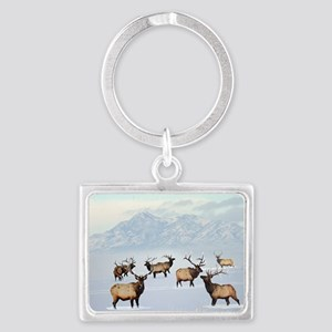 Northern bull elk Keychains