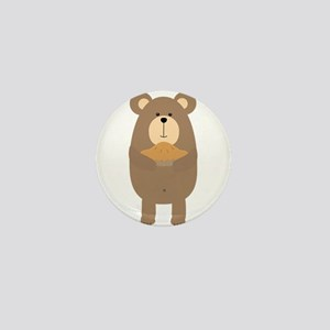 Brown Bear with pie Mini Button