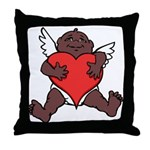 African Cupid Valentine Love Throw Pillow
