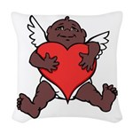 African Cupid Valentine Love Woven Throw Pillow